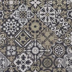 Osborne And Little Cervo 05 Wallpaper W7211-05 Gold Wallpaper, Wallpaper Samples, Osborne And Little Wallpaper, Black Gold, Black And White, New Living Room, Easy Home Decor, Shades Of Black, Tile Design