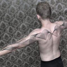 Tattoo by Chaim Machlev Dotstolines ChaimMachlev geometric lines flow