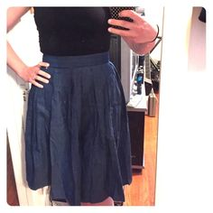 """Full denim skirt NWT denim pleated skirt... Needs to be steamed (wrinkled in the mail) I bought this from Modcloth and it is not really my style... Has 2 pockets. 28"""" in the waist 26"""" in length Skirts A-Line or Full"""
