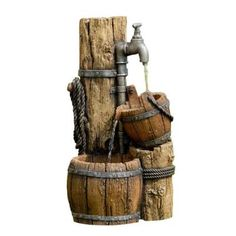 Wood Cask Fountain without Light - Garden Types