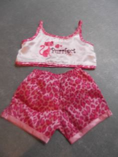 BUILD-A-BEAR CLOTHING - (2) PIECE SATIN PURRFECT TOP AND SHORTS ANIMAL  PRINT  ANY 4381afc3e