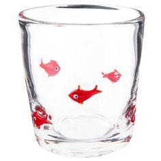 Bicchiere in vetro con motivi di pesci rossi   - Venduto x 6