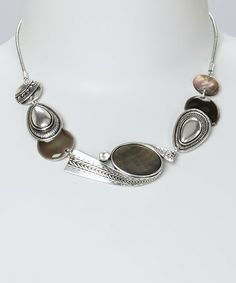 Love this Mother-of-Pearl & Silver Bead Bib Necklace on #zulily! #zulilyfinds      Oh mercy I like this!  and it's 12.99!