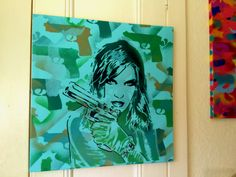 painting of woman with gun on 20 by 20 by AbstractGraffitiShop, $150.00