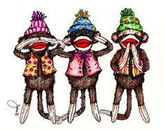A Little sock Monkey art from Pop Art Minis
