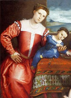 (detail) Lorenzo Lotto Giovanni della Volta with his Wife and Children The National Gallery, London 1547