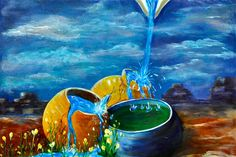 """Christian Art, Original Acrylic Painting on Canvas, Framed with Rustic Wooden Frame """"The Value of Cracked Pots"""""""