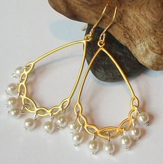 Silver and Gold Pearl Hoop  Earrings, Chandelier Fashion Jewelry. $21.00, via Etsy.