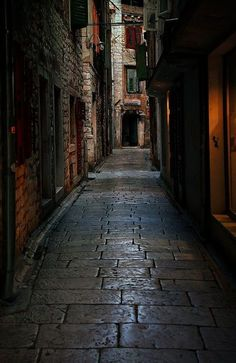 Cobblestone Street, Dubrovnik, Croatia.