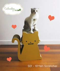 Look at this awesome scratching post and this sad kitten! Kitten Scratcher  premium cat scratcher in by CaturdayBangkok, $60.00