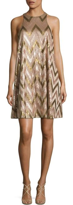 On SALE at 25.00% OFF! sequin swing cocktail dress by Aidan Mattox. Zigzag patterned sequin accents brighten this dress. High neckline. Sleeveless. Concealed back zip closure. Lined. Ab...