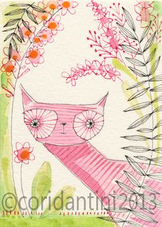watercolor of a cat in a field of flowers - whimsical  painting  - ink - 5 x 7 - limited edition archival print by cori d