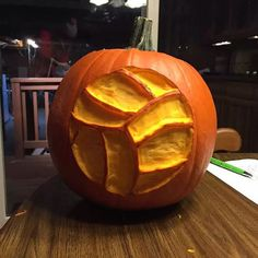 """Halloween is coming up fast and everything is already pumpkin-spiced so we had to post this volleyball pumpkin from Ashley Helminski. If you are carving a…"""
