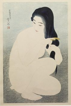 Kamisuki (Combing Her Hair) - Torii Kotondo.   C. Bertram Hoffberger, December 2, 1980, by purchase from Tsuru Gallery, New York City; Erna Hoffberger, Upperville, Virginia, 1997, by inheritance; Monika Griff, Silver Spring, Maryland, October 19, 2010, by inheritance; Walters Art Museum, 2011, by gift.  Gift from the Erna and Charles Bertram Hoffberger Collection, 2011