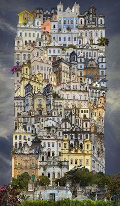 Jean Francios Rauzier maakt foto's van gebouwen in de stad en plaatst ze dan allemaal op elkaar.