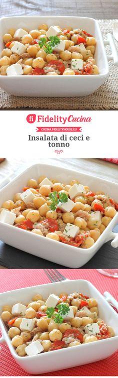 Insalata di ceci e tonno Salad Recipes, Healthy Recipes, Yummy Food, Tasty, Low Cholesterol, Antipasto, Finger Foods, Italian Recipes, Food And Drink