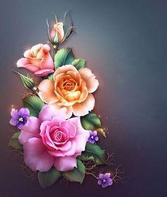 By Artist Unknown. Flowery Wallpaper, Flower Phone Wallpaper, Rose Wallpaper, Butterfly Wallpaper, Butterfly Art, Nature Wallpaper, Wallpaper Backgrounds, Beautiful Flowers Wallpapers, Beautiful Rose Flowers