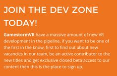 Sign up for the Dev Zone Today #VR #AR #MR #gamedev #beta #jobs #news #HTCVive #Oculus #PSVR http://gamestorm.tv?utm_content=bufferaecd2&utm_medium=social&utm_source=pinterest.com&utm_campaign=buffer