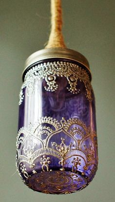 Hand Painted Henna Sea Glass colored Mason Jar *LOVE* Can be used indoors or Outdoors