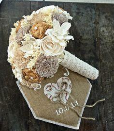 SGR likes this one. lCustom Handmade Alternative Sola Flower Wedding Bouquet- Ivory Cream Tan Taupe Beige Lace Wood Keepsake Bridal Bouquet Vintage on Etsy, $124.00