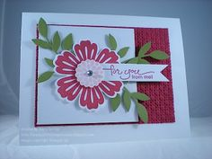 Stampin Up Mixed Bunches, Blossom Punch, Square Lattice Embossing Folder, A Word for You, Thinking of You, Leaves Die