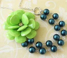 Statement Necklace Flower Necklace Navy Blue Jewelry by zafirenia