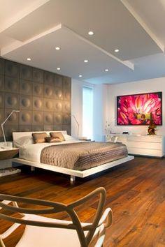 trump Hollywood - contemporary - bedroom -침대뒤의 벽이 중심을 잡는군요