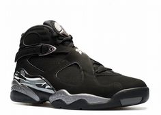 """Air Jordan 8 Retro Black Chrome This pair is a true retro color way in that it wasn't of the original 1993 color ways of the AJ8. Upon release it became an instant classic, sharing the mostly black upper of the """"Playoff 8s"""" and """"Aqua 8s"""" except bringing Chrome in as an accent. This is the closest thing to a """"Blackout"""" pair of AJVIII and definitely fits the """"All Black Everything"""" mantra."""