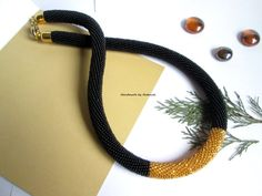 """Bead Crochet Necklace """"Black style"""" of Czech beads,black,Golden,minimalist,business style,evening style,for her,custom made"""