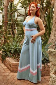Miss Candyfloss TopVintage Exclusive Jumpsuit in Sky Blush 133 30 18012 1W
