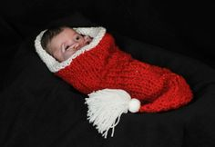 #IDEA FOR A BABY CHRISTMAS PORTRAIT PHOTO -this is for sale but you buy a SATIN SANTA HAT and pop baby in - could be a winner idea -Newborn baby girl boy unisex cocoon SANTA  adult HAT Christmas photography props red