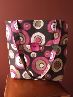 Pink & Brown Fun Circle 5 pocket Weekend Tote by VermontTotes