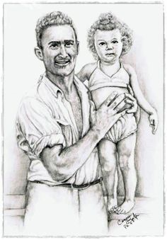 """Daddy's Girl"" Graphite portrait of my sister and our Daddy done from a vintage photograph of them taken around 1947. by Connie Baten"