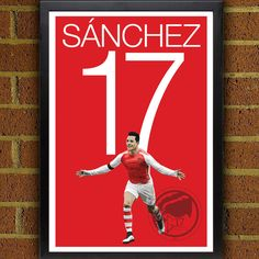 Alexis Sanchez 17 Arsenal FC Poster - English Premier League Soccer Poster- 8x10, 8.5x11, 13x19, poster art, wall decor home, chile, gunners by Graphics17 on Etsy