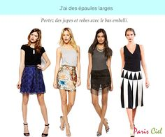 b7f04cafb Conseils et astuces vestimentaires pour les femmes aux épaules larges Estilo  Parisiense, Roupas, Corpo