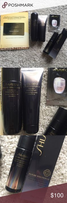 Shiseido future solution LX skincare Delux travel size bundle. Toner, oil, foam cleanser and complimentary facial at Shiseido Bloomingdale's and foundation sashet. Never opened new. In perfect new condition. No trade shiseido Makeup