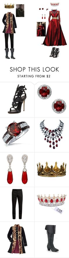 """Henry the V111 and Anne Boleyn"" by assassinscreedfan2002 on Polyvore featuring Giuseppe Zanotti, Bling Jewelry, Randa, Kenneth Jay Lane, McTeigue & McClelland, Seletti, Yves Saint Laurent and Bordeaux"