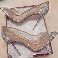 cinderella stiletto heels / glitter pumps / women's shoes from Louboutin Cute Shoes, Me Too Shoes, Fancy Shoes, Prom Heels, Sparkly Heels, Glitter Heels, Bling Heels, Glitter Bomb, Bling Bling