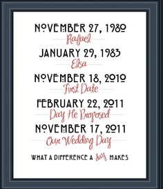 What a difference a day makes - Subway Art - Family Wall Art - Special Dates - Wedding Art -PDF, Print or Canvas Gallery Wrap -FREE SHIPPING