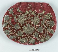 Cap Crown  Date: 18th century   Culture: Southern German   Medium: Metal thread on velvet   Dimensions: H. 3 3/4 x W. 4 3/4 inches (9.5 x 12.1 cm) Classification: Textiles