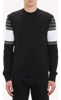 Givenchy Diamond-Pattern Sleeve & Back Pullover Sweater