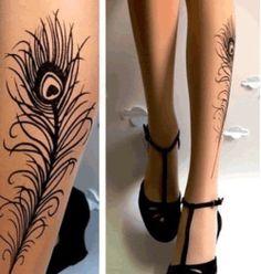 Peacock Tattoo Tights - $18