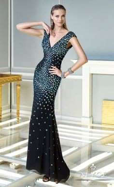 Check out the deal on Alyce Claudine 2315 Cap Sleeve Deep V Neck Evening Dress at French Novelty
