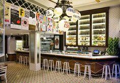 Restaurante QU QU de Barcelona bajo la dirección de Lazaro Rosa Violan - Contemporain Studio. #azulejosartesanos #diseño #suelos