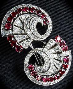 An Art Deco Ruby and Diamond Double Clip Brooch, circa 1935.
