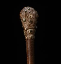 very fine and old Chokwe club, wood and brass tacks, richly decorated with pattern on club head. 57 cm, 22,4 in