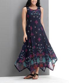 Love this Navy Picotage Scoop Neck Handkerchief Dress - Plus by Reborn Collection on #zulily! #zulilyfinds