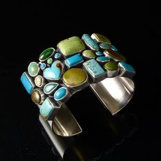 Sterling silver cuff with Turquoise, Variscite, and Gaspeite by Dee Nez (Navajo) Ethnic Jewelry, Navajo Jewelry, Southwest Jewelry, I Love Jewelry, Stone Jewelry, Jewelry Art, Jewelry Design, Fashion Jewelry, Jewlery