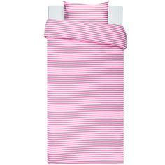 Seasonal color: Tasaraita duvet cover and pillow case, pink-white, by Marimekko.