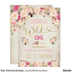 Wild One Birthday Invitations, Wild One Birthday Party, 3rd Birthday Parties, Zazzle Invitations, Birthday Ideas, Invites, Birthday Pictures, Watercolor Invitations, Floral Invitation